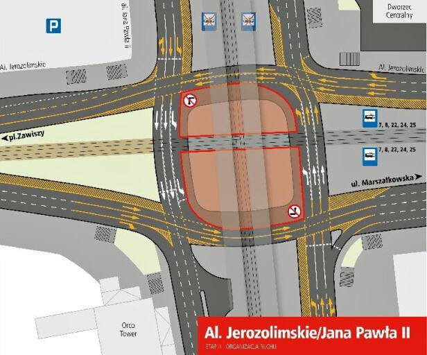 Zmiany na skrzyżowaniu Jana Pawła II i Al. Jerozolimskich Urząd Miasta