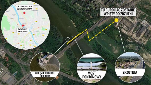 Awaryjny rurociąg odprowadzający ścieki do oczyszczalni TVN24 / Google Maps