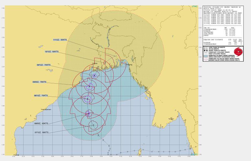 Prognozowana trasa przejścia cyklonu Bulbul (Joint Typhoon Warning Center)