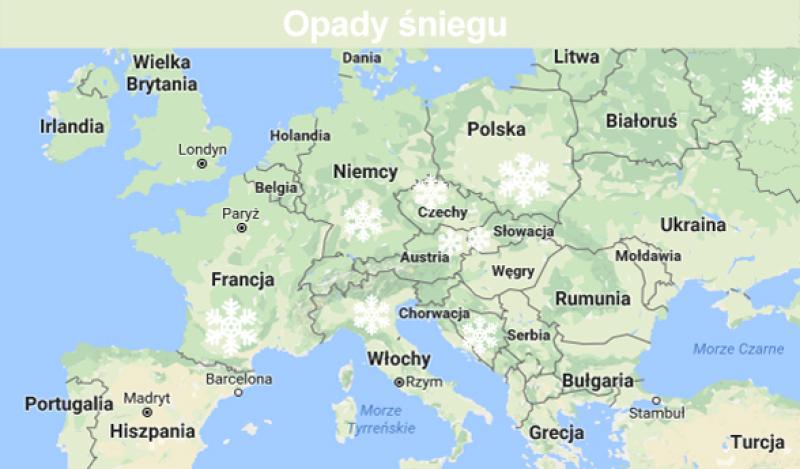 Opady śniegu (TVN Meteo/Google Maps)