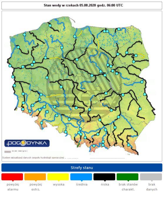 Stan wody w rzekach 5 sierpnia (IMGW)