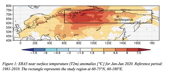 Odchylenie temperatury od średniej w miesiącach styczeń-czerwiec (Copernicus)