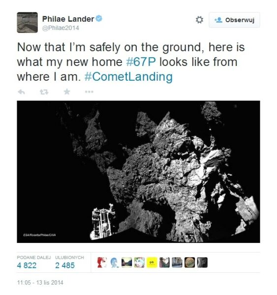 Informacja o ustabilizowaniu się Philae na komecie