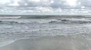 Silny wiatr nad morzem