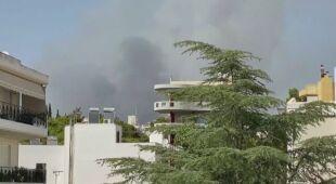 Pożary na przedmieściach Aten